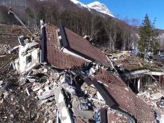 Drone Video Shows Devastation Left by Italian Avalanche