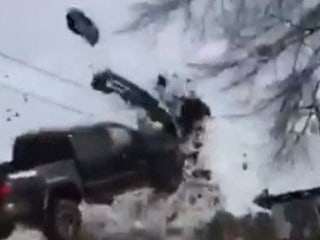 High-speed Chase Ends with Truck Launching into the Air