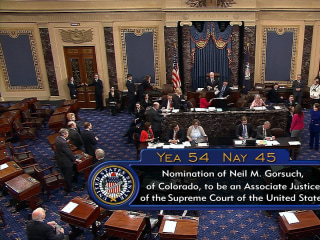 Pence Reads Final Vote Confirming Gorsuch to Supreme Court
