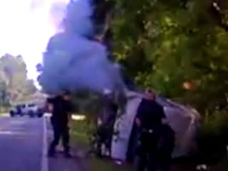 Dashcam Captures Fiery Crash and Rescue