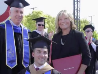 Mom who went to every class with quadriplegic son surprised with honorary degree