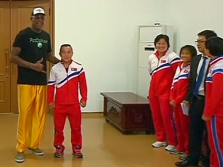Rodman Towers Over North Korean Athletes