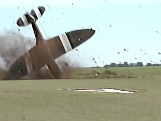 Terrifying Moment Historic Fighter Plane Crashes on Takeoff
