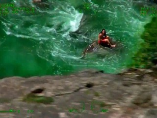 Swimmer Rescued By Helicopter From Rough Waters