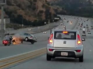 Caught on camera: Road rage becomes scary freeway collision