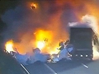 Huge Fiery Explosion as Trucks Collide on Highway