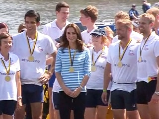 Prince William and Duchess Kate Compete in Boat Race During Tour of Germany