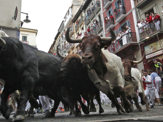 Bull Runners Tumble on the Cobbled Streets of Pamplona