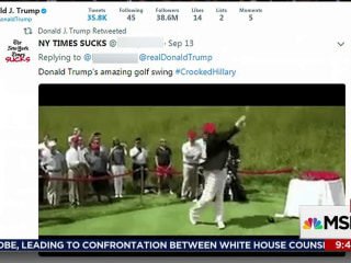 Trump retweets video of himself hitting Clinton with golf ball