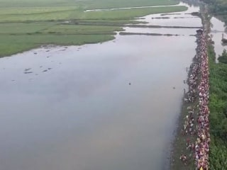 Drone Captures River of Misery as Thousands of Rohingya Flee Myanmar