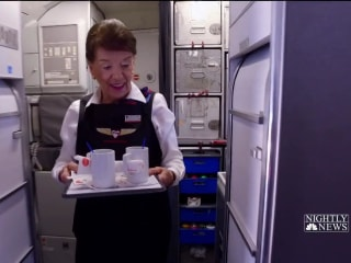 This flight attendant has been on the job for 60 years