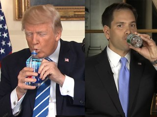 Trump vs. Rubio: Awkward water bottle moments