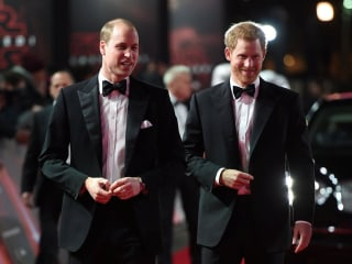 Princes William and Harry attend the European premiere of 'The Last Jedi'