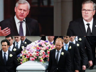 Barbara Bush funeral: Watch emotional speeches from Jeb Bush, Jon Meacham