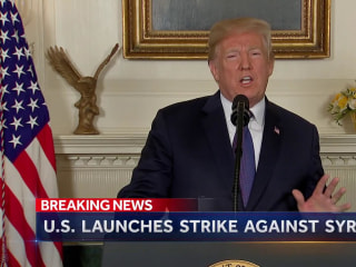 US launches strike on Syria after suspected chemical weapons attack
