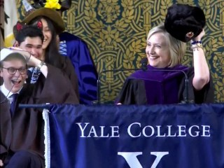 Clinton sports Russian hat during Yale speech