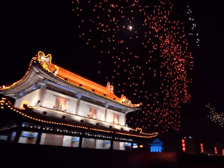 Watch 1,374 drones dance across the sky over ancient Chinese city
