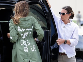 Watch Melania Trump head to Texas border area wearing controversial jacket