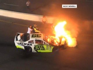 Father speaks out after rescuing son from burning race car: 'Nothing else mattered'
