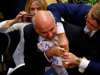 Man forcibly removed before Trump-Putin press conference