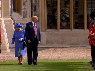 WATCH: President Trump walks in front of Queen Elizabeth II
