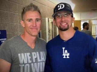 Cancer survivor reunites with baseball hero, now plays for same organization