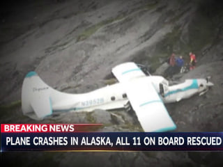 11 people rescued after plane crashes in Alaska