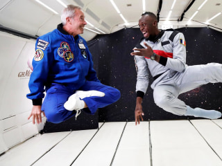 Usain Bolt takes on laws of physics in zero gravity race