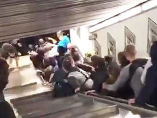 Watch: Rome escalator runs out of control, creating pileup