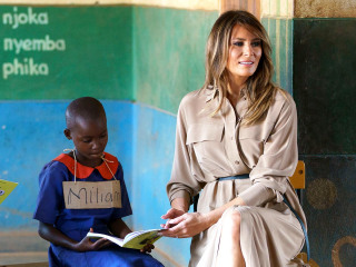 First lady visits Malawi school on African child welfare tour