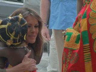 Melania Trump visits Ghana's Cape Coast Castle, a former slave holding facility