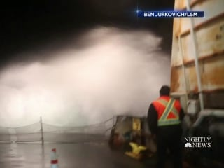 West Coast battles massive winds and waves