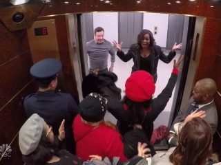 Michelle Obama and Jimmy Fallon surprise 30 Rock guests on elevator