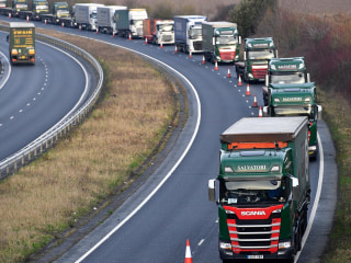 Huge truck convoy takes part in drill to gauge effects of a 'no-deal' Brexit