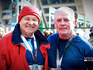 Heart attack survivor who nearly died during marathon runs again with surgeon who saved his life