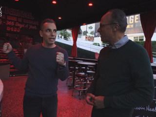 Sebastian Maniscalco shows Lester Holt around the Comedy Store