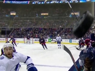 Sports reporter comes close to getting knocked in the head by hockey puck