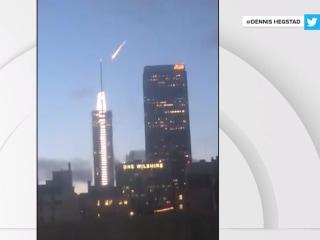Red Bull stunt sends meteor-like light through Los Angeles skies