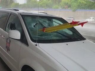 Driver describes moment tripod impaled van windshield