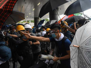 Police clash with pro-democracy protesters in Hong Kong