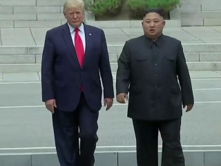Trump becomes first sitting American president to set foot in North Korea