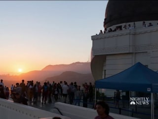 Stargazers celebrate anniversary of Apollo 11 liftoff at Griffith Observatory