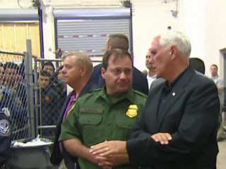Protests ahead of planned immigration raids as Pence tours overcrowded detention facility