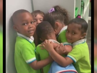 Viral video shows Florida students hugging Hurricane Dorian survivor as he fights back tears
