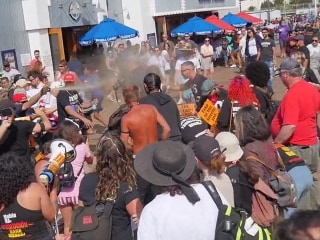 Man arrested for allegedly spraying bear repellent as anti-Trump protesters scuffle with supporters in California