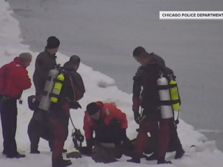 Dramatic video shows man being rescued from icy Lake Michigan