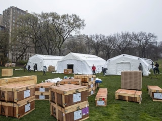 Hospital tents erected in Central Park as medical responders battle their own virus cases