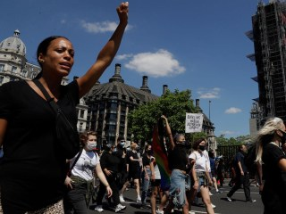 Londoners protest outside U.S. embassy over death of George Floyd