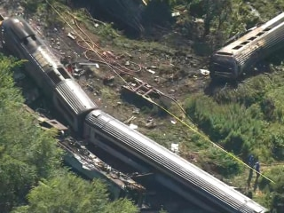 Aerial video shows wreckage of deadly train derailment near Aberdeen, Scotland