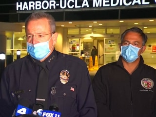 Officials hold press conference after LAPD officer shot on-duty at Harbor Station